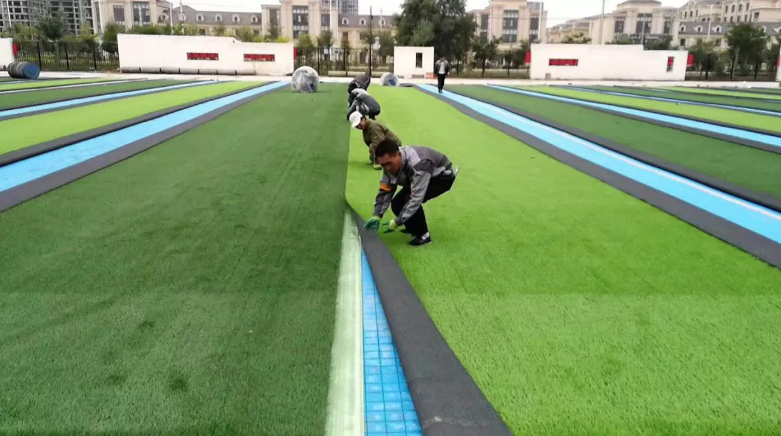 Crosslinked Double-Sided Slotted Playground Composite PU Foam Water Proof Artificial Turf Underlay Soccer Baseball Court
